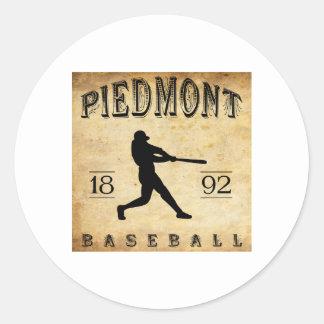 1892 Piedmont California Baseball Classic Round Sticker