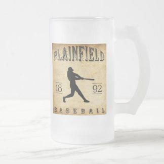 1892 Plainfield New Jersey Baseball Frosted Glass Beer Mug