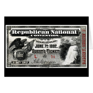 1892 Republican Convention Ticket Card