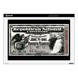 "1892 Republican Convention Ticket Decals For 17"" Laptops"