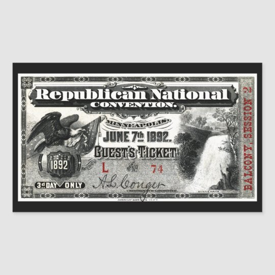 1892 Republican Convention Ticket Rectangular Sticker
