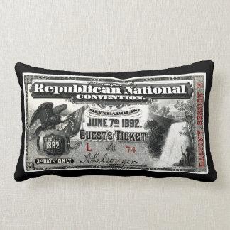 1892 Republican Convention Ticket Throw Pillow