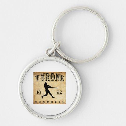 1892 Tyrone Pennsylvania Baseball Silver-Colored Round Keychain