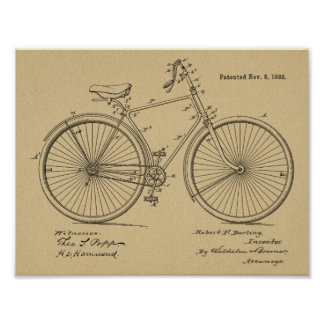1892 Vintage Bicycle Design Patent Art Print