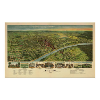 1892 Waco, mapa panorámico de la opinión del ojo d Posters