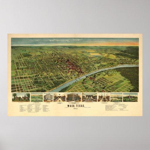 1892 Waco, TX Bird's Eye View Panoramic Map Print
