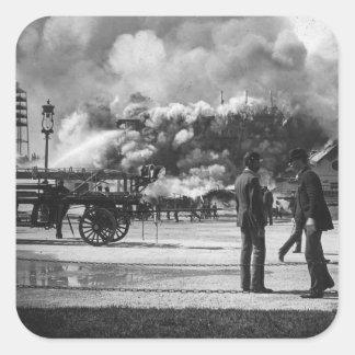 1892 WORLD COLUMBIAN EXPOSITION FIRE GLASS SLIDE SQUARE STICKER