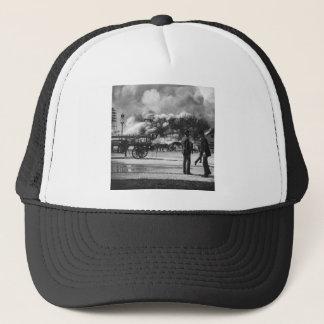 1892 WORLD COLUMBIAN EXPOSITION FIRE GLASS SLIDE TRUCKER HAT