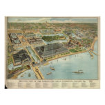 1893 Chicago, IL Birds Eye View Panoramic Map Posters