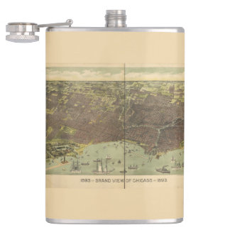 1893 grand view of Chicago Hip Flask