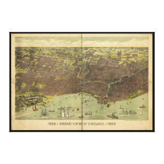 1893 Grand View of Chicago Illinois Canvas Print