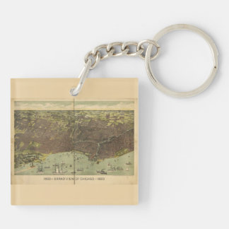 1893 grand view of Chicago Keychain