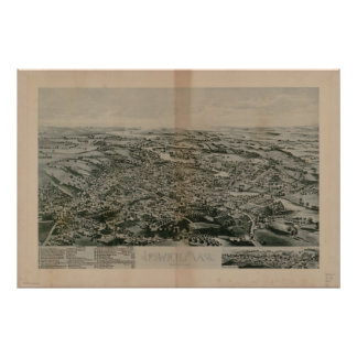 1893  Ipswich, MA Birds Eye View Panoramic Map Poster
