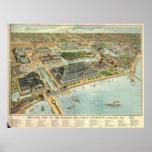 1893 mapa panorámico de la opinión de ojo de pájar poster