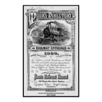 1893 RAILROAD DIRECTORY POSTER