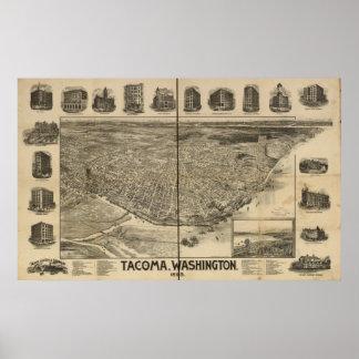 1893 Tacoma, mapa panorámico de la opinión de ojo  Póster