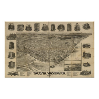 1893 Tacoma, WA Birds Eye View Panoramic Map Poster