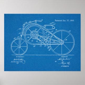 1893 Vintage Bicycle Patent Blueprint Art Print