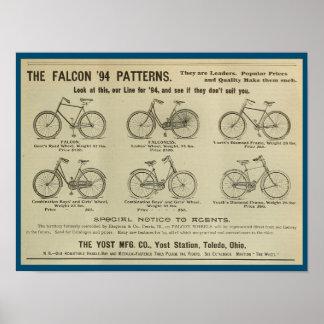 1893 Vintage Yost Bicycle Magazine Ad Art Poster