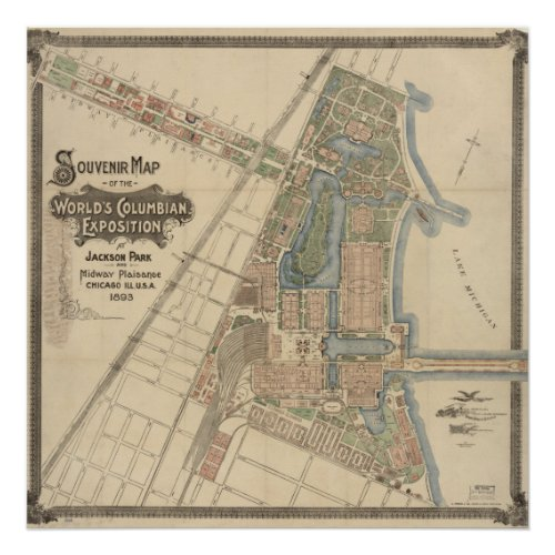 1893 World's Columbian Exposition Map, Chicago, IL