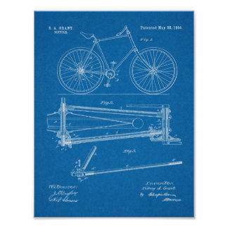 1894 Chainless Bicycle Design Patent Art Print
