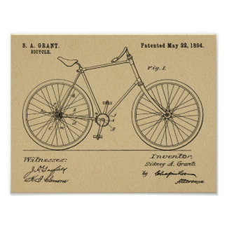 1894 Chainless Shaft Drive Bicycle Patent Print
