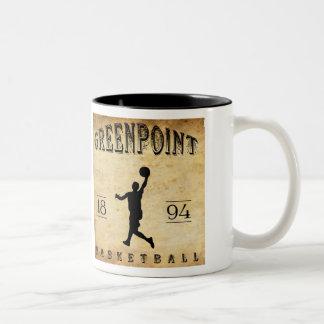 1894 Greenpoint New York Basketball Two-Tone Coffee Mug