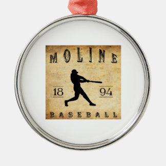 1894 Moline Illinois Baseball Metal Ornament