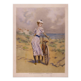 1894 Vintage Bicycle Ad Art Poster Girl Beach
