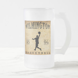 1894 Wilmington Delaware Basketball Frosted Glass Beer Mug