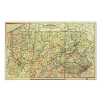 1895 Antique Rail Map of Pennsylvania Poster