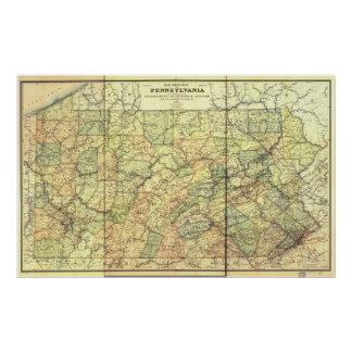 1895 Antique Rail Map of Pennsylvania Posters