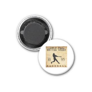 1895 Battle Creek Michigan Baseball 1 Inch Round Magnet