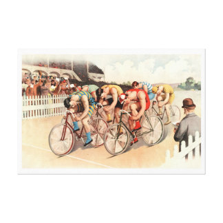 1895 Bicycle Race Reprint 36 x 24 Canvas Print