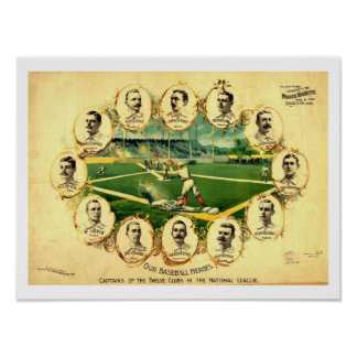1895 Captains 12 Clubs  National BASEBALL League Poster