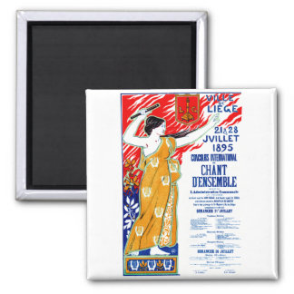 1895 Choral Music Poster 2 Inch Square Magnet