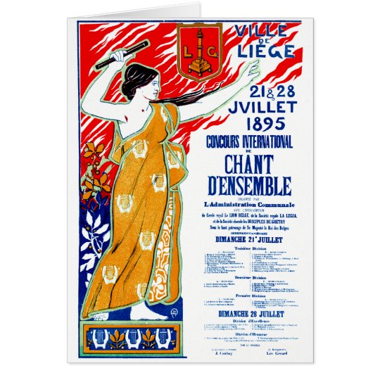 1895 Choral Music Poster Card