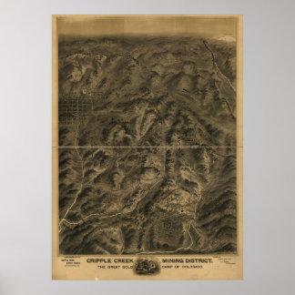 1895 Cripple Creek CO Birds Eye View Panoramic Map Poster