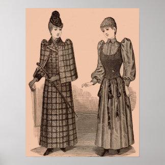 1895 Delineator print ladies coat and dress
