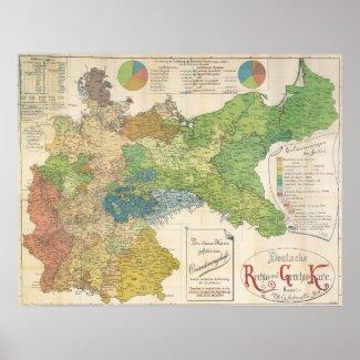 1895 German Map - Germany Print