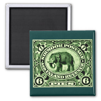 1895 Indian Princely States Elephant 2 Inch Square Magnet