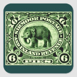 1895 Indian Princely States Elephant Square Stickers