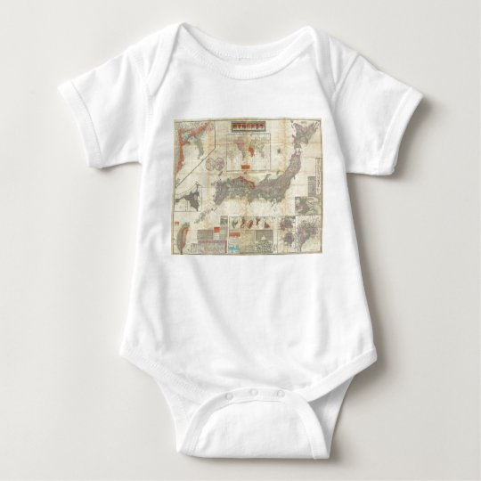 1895 Meiji 28 Japanese Map of Imperial Japan Baby Bodysuit