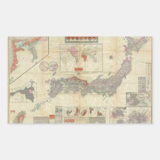 1895 Meiji 28 Japanese Map of Imperial Japan Rectangular Stickers