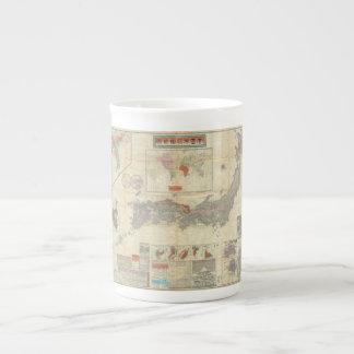 1895 Meiji 28 Japanese Map of Imperial Japan Tea Cup