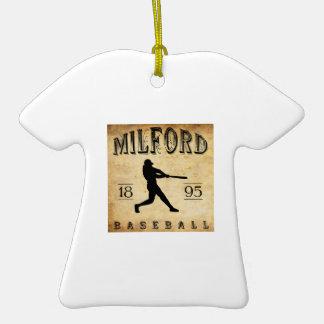 1895 Milford New Hampshire Baseball Double-Sided T-Shirt Ceramic Christmas Ornament