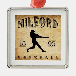 1895 Milford New Hampshire Baseball Square Metal Christmas Ornament