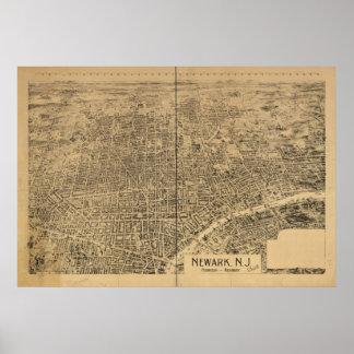 1895 Newark, mapa panorámico de la opinión de ojo  Impresiones