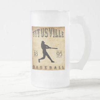 1895 Titusville Pennsylvania Baseball Frosted Glass Beer Mug