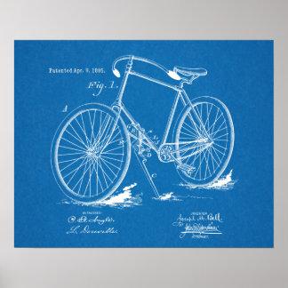 1895 Vintage Bicycle Patent Blueprint Art Print